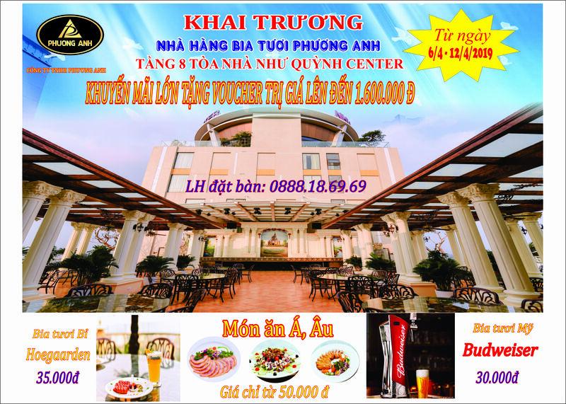 Khai trương Nhà hàng Bia tươi Phuong Anh tầng 8 tòa nhà Như Quỳnh Center